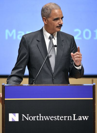 Attorney General Eric Holder speaks at the Northwestern University law school on Monday in Chicago. (Associated Press)