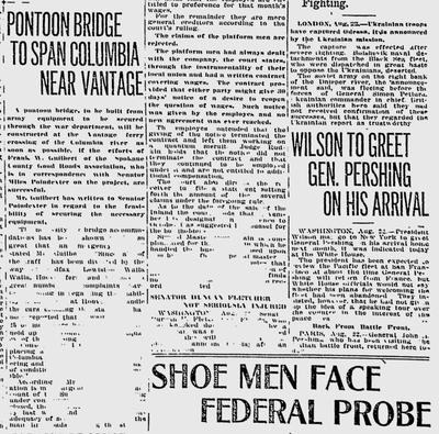 A solution to the closing of the Vantage ferry was floated by local officials: build a pontoon bridge, Army style. (Spokane Daily Chronicle archives)