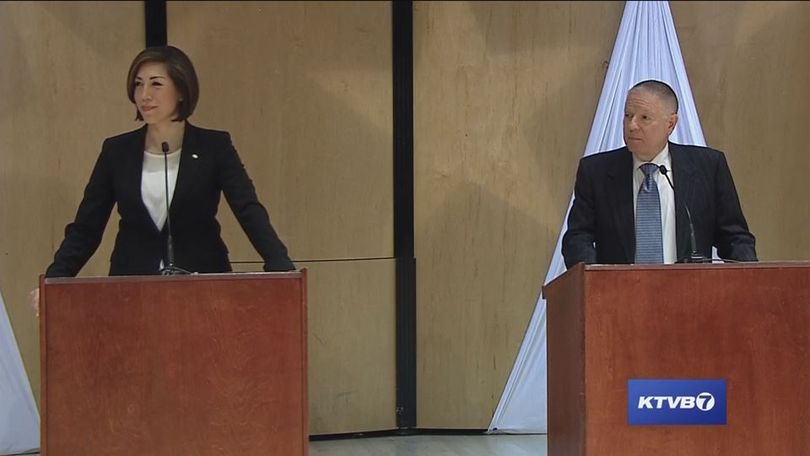 Paulette Jordan, left, and A.J. Balukoff, right, participate in a debate sponsored by KTVB-TV in Boise on Tuesday, May 1, 2018; the two are running for governor on the Democratic ticket. Idaho's primary election is May 15. (KTVB/screenshot)