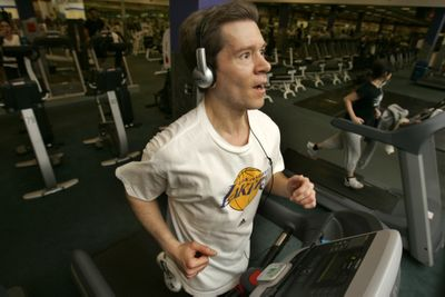 Dan Golden works out at a fitness center. He began fasting almost 15 years ago and now eats about 1,800 to 2,000 calories a day on a diet high in fruits, vegetables, rice and beans. Los Angeles Times (Los Angeles Times / The Spokesman-Review)