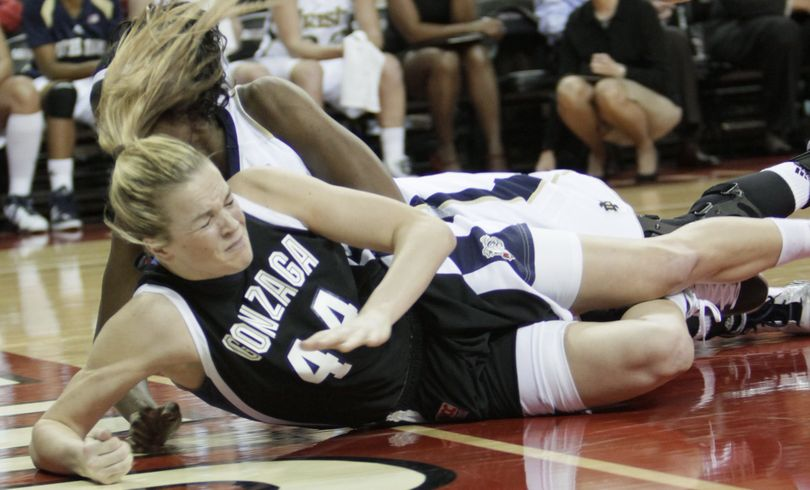Gonzaga's Kelly Bowen crashes to the floor as she is fouled by Notre Dame's Devereaux Peters.  (Associated Press)
