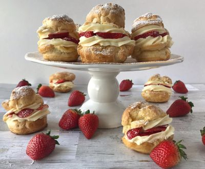 Use pâte á choux, the classic French dough, to make these cream puffs, then use a mix of heavy cream, milk and pudding for the filling. (Audrey Alfaro/For The Spokesman-Review)