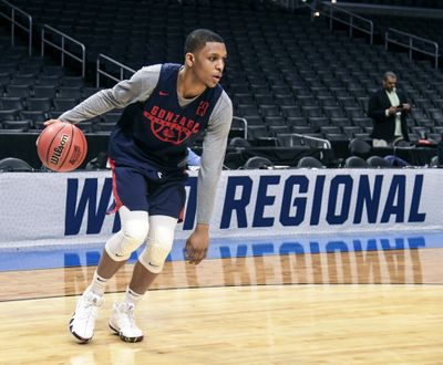 Gonzaga guard Zach Norvell Jr. goes through practice drills Wednesday at the Staples Center. (Dan Pelle / The Spokesman-Review)
