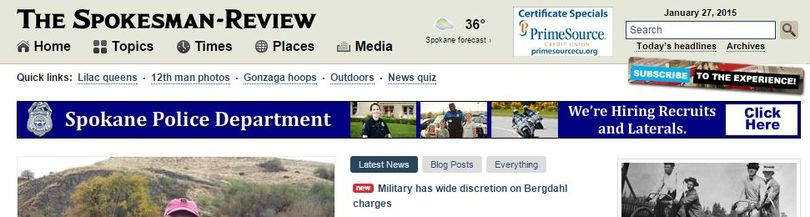 A banner ad for the Spokane Police Department is scheduled to run for one week on the Spokesman-Review homepage.