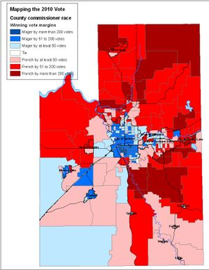 Map of votes in Spokane County Commissioner's race, 2010. (Jim Camden/The Spokesman-Review)