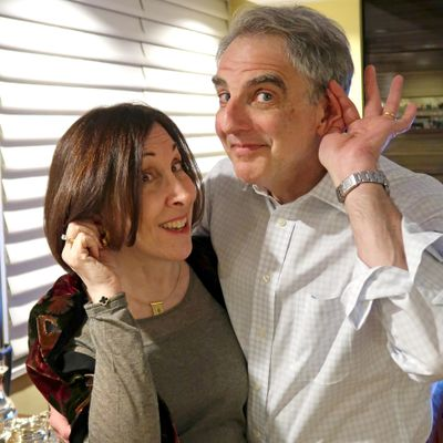 Liane and Marc Carter playfully pose for the camera after they each received hearing aids. (Courtesy of Liane and Marc Carte / Courtesy of Liane and Marc Carter)
