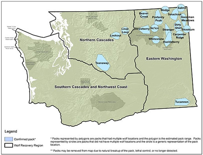 Washington wolf packs and their territories, updated in March 2016. (Washington Department of Fish and Wildlife)