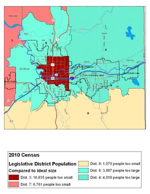 Spokane metro area map of 2010 legislative districts and how much their population will have to change for the 2012 districts. (Jim Camden/The Spokesman-Review)