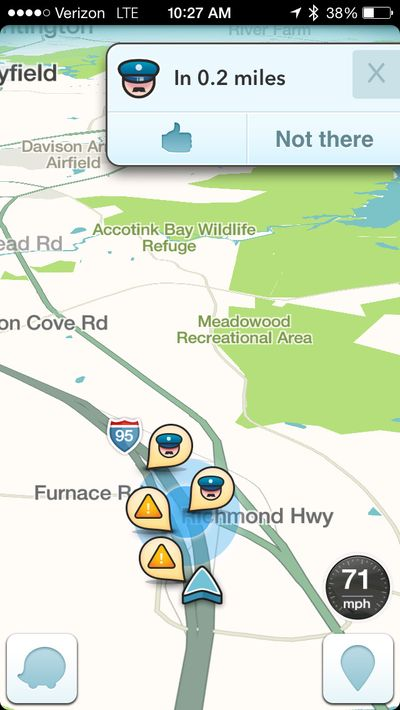 This image taken from the Waze app on an iPhone, in Washington, shows police at the scene on a map. (Associated Press)