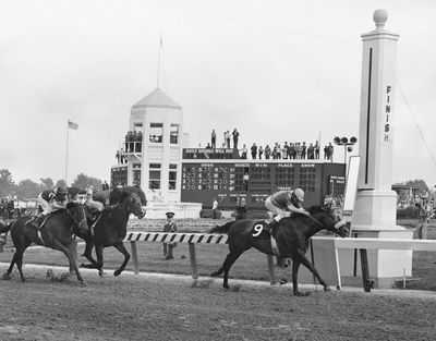 In this May 4, 1968 photo, Dancer's Image, right, jockey Bob Ussery up, crosses the finish line to win the 94th running of the Kentucky Derby at Churchill Downs in Louisville, Ky. Forward Pass, center, was second, and Francie's Hat, left, was third. Sent off as the 7-2 second choice, Dancer's Image rallied from last to win by 1 1/2 lengths over Forward Pass. The result was declared official, but Dancer's Image was later disqualified after traces of phenylbutazone, known as bute, were found in Dancer's Image's post-race urinalysis. Dancer's Image was placed 14th and last; Forward Pass was declared the winner. (Anonymous / Associated Press)