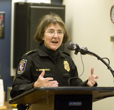 Spokane Police Chief Anne Kirkpatrick speaks at the opening of the new Downtown COPS sub station that opened March 11, 2009. (Colin Mulvany / The Spokesman-Review)