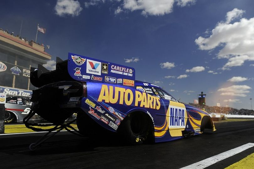 Ron Capps prepares for his final round run to victory as the NHRA Mello Yello Drag Racing Series wrapped up its Arizona Nationals event on Sunday. (Photo courtesy of NHRA Media)