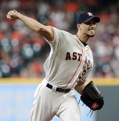 Houston Astros starting pitcher Charlie Morton throws against the Texas Rangers during the first inning of a baseball game Saturday, May 12, 2018, in Houston. (Michael Wyke / AP)