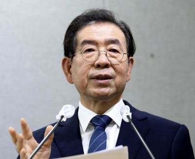 Seoul Mayor Park Won-soon speaks during a press conference at Seoul City Hall in Seoul, South Korea Wednesday, July 8, 2020. Police on Thursday, July 9, said the mayor of South Korean capital Seoul has been reported missing and search operations are underway.  (Newsis)