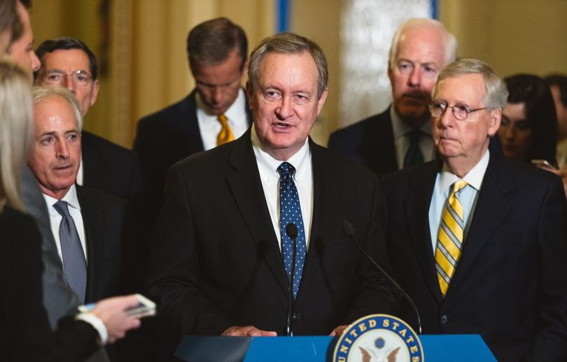 Idaho Sen. Mike Crapo joins Senate leaders to discuss his legislation stepping up sanctions against Russia; Crapo is the chairman of the Senate Banking Committee.