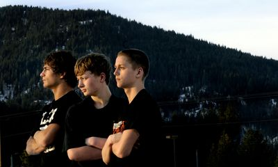 The Wright brothers, from left, Seth, Nick and Nate, stand in front of Lakeland High School on Tuesday. The three brothers wrestle for the school in Rathdrum. Their father, Jesse, and a sister were killed in an auto accident in May 2006. Nate and Nick were seriously injured.  (Kathy Plonka / The Spokesman-Review)