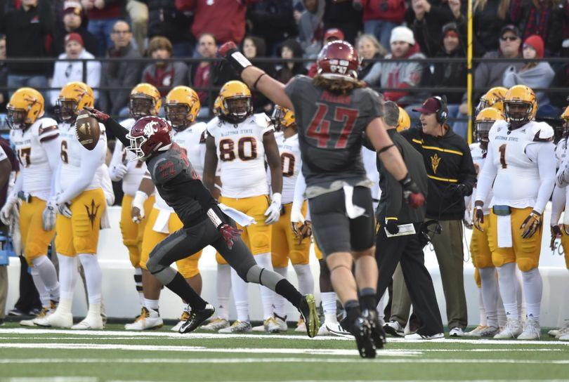 WSU corner Darrien Molton (22) intercepts Arizona State quarterback Mike Bercovichi (2) during the second half of a Pac-12 college football game on Saturday, Nov 7, 2015, at Martin Stadium in Pullman, Wash. WSU won the game 38-24. (Tyler Tjomsland / The Spokesman-Review)