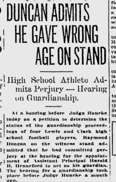 Several Lewis and Clark football players, including 23-year-old Raymond Duncan, testified before a judge in guardianship hearings held Nov. 30, 1920.  (S-R archives)