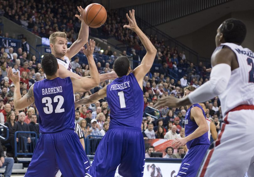 Gonzaga forward Domantas Sabonis (11) passes against Portland State during a college basketball game on Saturday, Jan. 9, 2016, at McCarthey Athletic Center in Spokane, Wash. (Tyler Tjomsland / The Spokesman-Review)
