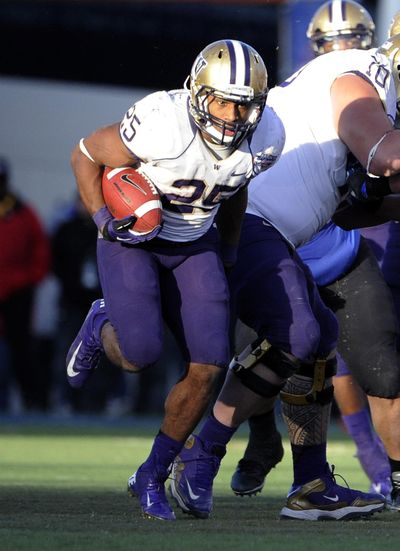Washington tailback Bishop Sankey  runs with the ball during second half of the MAACO Bowl against Boise State, Saturday, Dec. 22, 2012, in Las Vegas. (David Becker / AP)