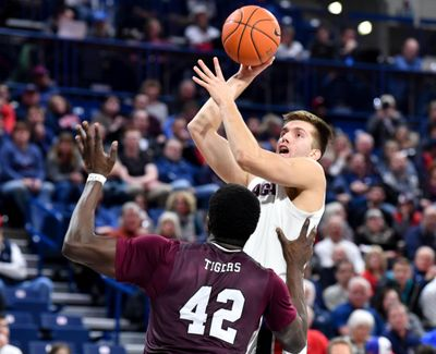 Gonzaga forward Filip Petrusev elevates over Texas Southern's Jethro Tshisumpa during the second half of Wednesday's game at the McCarthey Athletic Center. (Tyler Tjomsland / The Spokesman-Review)