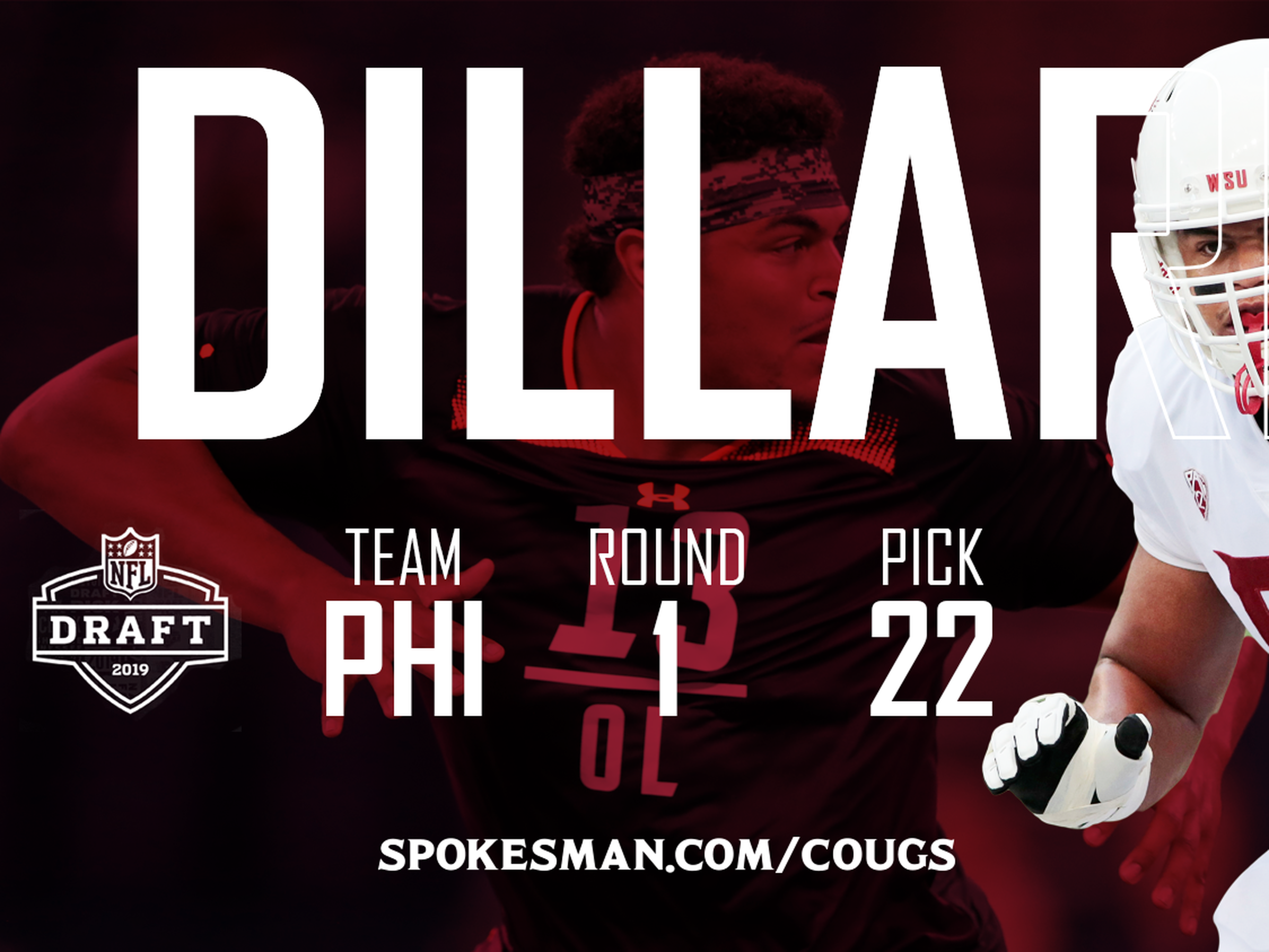 Andre Dillard Philadelphia Eagles Draft First Round Pick Game Jersey - Green