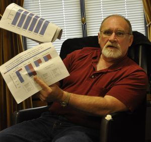 OLYMPIA -- Sen. Jim Hargrove, D-Hoquiam, holds up charts during a press briefing in his office that show chart indicating where state government has reduced spending on social programs.   (Jim Camden)