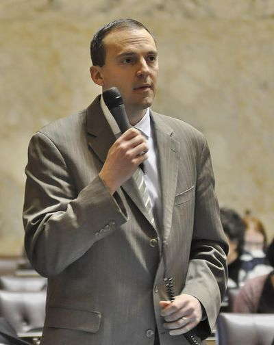 OLYMPIA – Rep. Marcus Riccelli, D-Spokane, urges the House to give final approval to the bill he sponsored that would expand the Spokane County Commission to five members. (Jim Camden / The Spokesman-Review)
