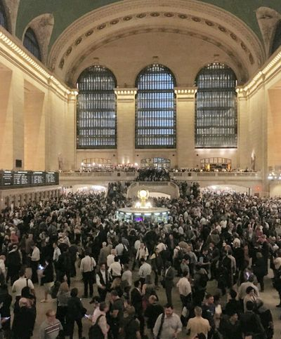 Commuters crowd the Grand Central Terminal in New York on Tuesday, May 15, 2018. Asian American households saw the biggest income growth of any racial or ethnic group in the United States over the past decade and a half _ almost 8%. New figures released Thursday, Dec. 10, 2020 by the U.S. Census Bureau also show that household income for Latinos grew by almost 6% over that time.  (Donald King)
