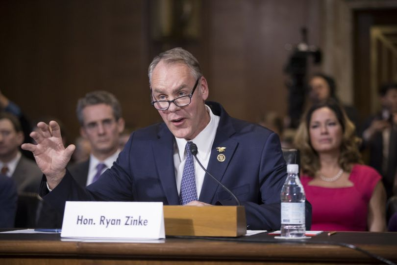 Interior Secretary-designate, Rep. Ryan Zinke, R-Mont., testifies on Capitol Hill in Washington, Tuesday, Jan. 17, 2017, at his confirmation hearing before the Senate Energy and Natural Resources Committee. Zinke, 55, a former Navy SEAL who just won his second term in Congress, was an early supporter of President-elect Donald Trump.  (J. Scott Applewhite / Associated Press)