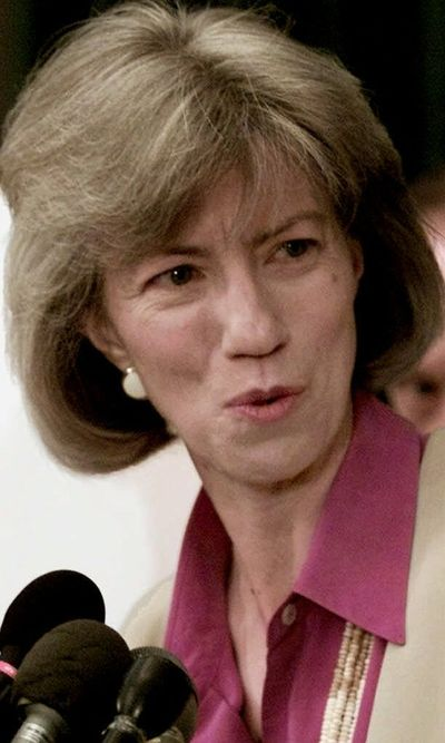 Then-Interior Secretary Gail Norton takes a question at a 2001 news conference. (Associated Press / The Spokesman-Review)