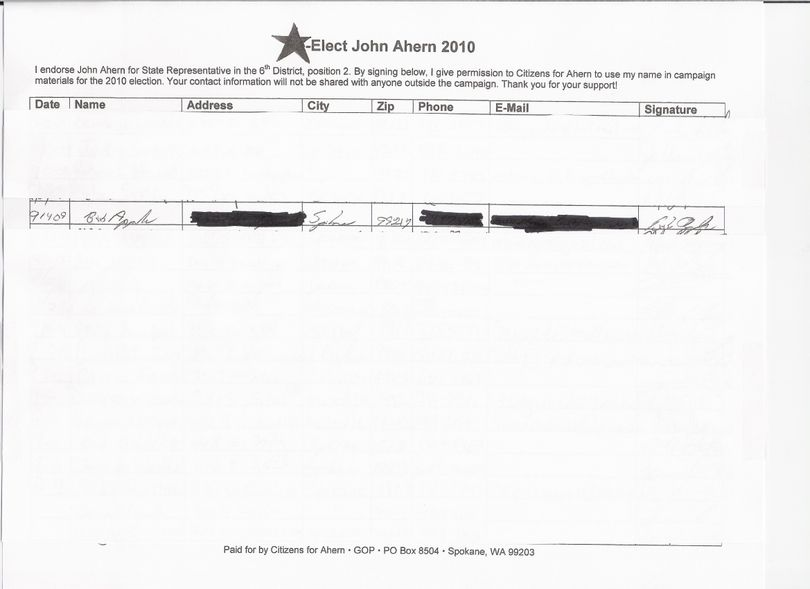 After Councilman Bob Apple denied endorsing John Ahern's campaign for the 6th Legislative District this week, Ahern's campaign released this page which they say shows Councilman Bob Apple's signature on an endorsement form. The campaign blocked other names and contact information. (Citizens for Ahern)