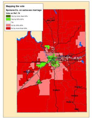 Map of the Spokane County votes on Referendum 74 on Election night (Jim Camden)