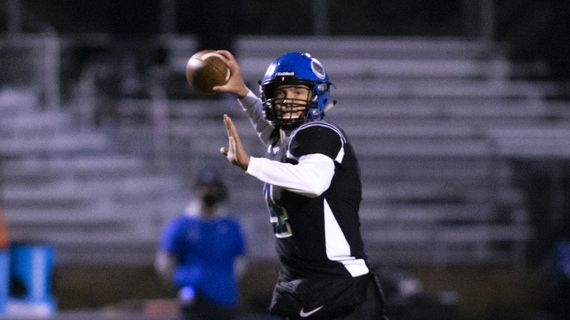 Coeur d'Alene quarterback Jack Prka throws during an Idaho 5A State quarterfinal game against Timberline on Friday, Nov. 6, 2020, in Coeur d'Alene, Idaho.  (Cheryl Nichols/For The Spokesman-Review)