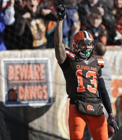 Cleveland Browns wide receiver Odell Beckham Jr. (13) celebrates after a touchdown during the first half of an NFL football game against the Miami Dolphins, Sunday, Nov. 24, 2019, in Cleveland. (Ron Schwane / Associated Press)