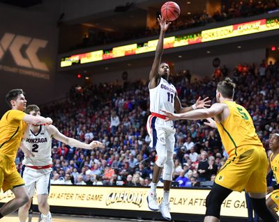 Gonzaga guard Joel Ayayi shoots a floater against San Francisco in the WCC Tournament semifinals last year at Orleans Arena in Las Vegas.  (Tyler Tjomsland / The Spokesman-Review)
