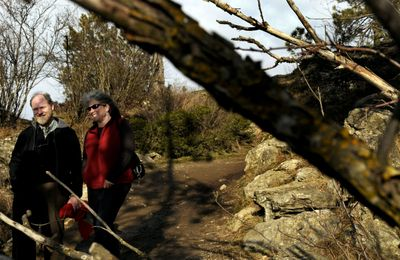 Peter Grubb and Betsy Bowen, co-owners of adventure outfitter ROW walk on Tubbs Hill Tuesday. They are proposing commercial guided walking trips on Tubbs Hill.  (Kathy Plonka / The Spokesman-Review)