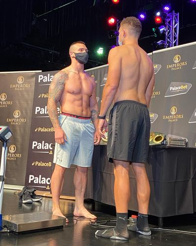 Spokane native Patrick Ferguson, right, and Kevin Larena weigh in before their cruiserweight fight in South Africa  (Twitter/Kevin Larena )