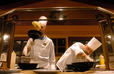 Buffet chefs AnD'rue Vought, left, and Pete Pesseti serve made-to-order omelets to customers at the High Mountain Buffet in the Coeur d'Alene Casino near Worley, Idaho. Tribal casinos are a growth industry in Idaho and Washington, employing more than 2,000 people in the Inland Northwest.   (Photos by Jesse Tinsley / The Spokesman-Review)