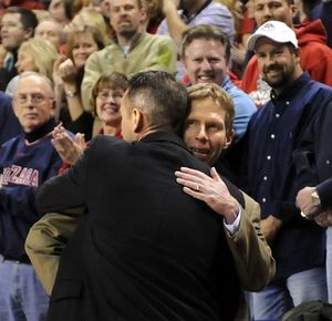Gonzaga coach Mark Few (right) welcomes back former GU assistant coach now San Diego head coach, Bill Grier before the start of the game, January 19, 2008 in the McCarthey Athletic Center.  DAN PELLE The Spokesman-Review (Dan Pelle / The Spokesman-Review)
