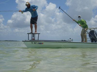 A fly fisher casts for permit in the Bahamas for the movie