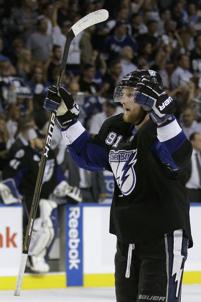 Tampa Bay center Steven Stamkos celebrates Wednesday after the Lightning defeated the Boston Bruins 5-4 in Game 6. (Associated Press)
