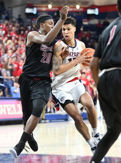 Gonzaga's Brandon Clarke drives against Central Washington's Malcolm Cola  on Thursday at McCarthey Athletic Center. The Zags handled the Wildcats 108-69 in an exhibition game. (Jesse Tinsley / The Spokesman-Review)