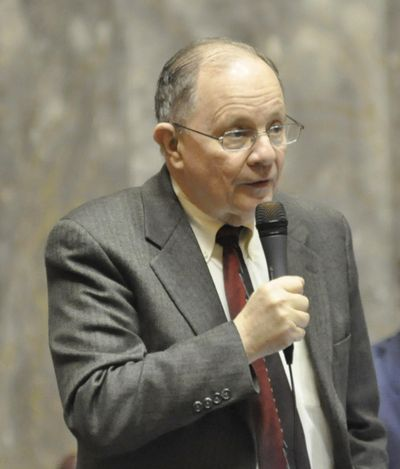 OLYMPIA – Sen. Mike Padden, R-Spokane Valley, argues in favor of his bill making a fourth DUI arrest a felony during debate on Feb. 23, 2017. The Senate passed the bill unanimously that day and the House passed the bill Thursday, April 20, 2017. (Jim Camden / The Spokesman-Review)