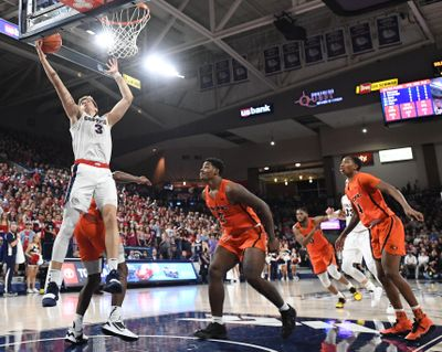 Gonzaga Bulldogs forward Filip Petrusev scores on a layup during the first half of  Saturday, Jan. 25, 2020, at McCarthey Athletic Center. (Tyler Tjomsland / The Spokesman-Review)