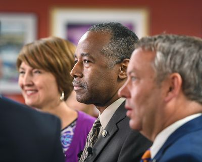 U.S. Secretary of Housing and Urban Development Ben Carson, along with Rep. Cathy McMorris Rodgers and Mayor David Condon, tour the Spokane Resource Center, a HUD EnVision Center, Tuesday, Aug. 13, 2019. Dan Pelle/THE SPOKESMAN-REVIEW (Dan Pelle / The Spokesman-Review)