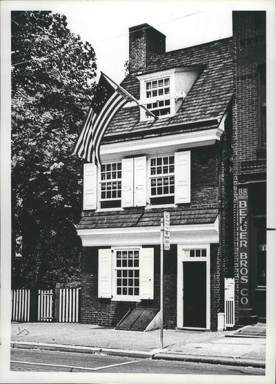 This home in Philadelphia is where Betsy Ross's grandsons claimed she lived when she was involved in the designing of the American flag, though the account is disputed by some historians. It remains a popular tourist site and hosts Flag Day celebrations. Spokane Daily Chronicle reporter Hazel Barnes took this photo during a 1953 visit to the historical site.  (Hazel Barnes/Spokane Daily Chronicle)