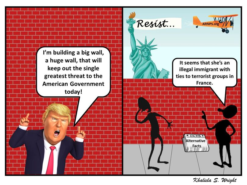 Huckleberry Friend Kahiela S. Wright provides a political cartoon view of the wall planned by President Trump.