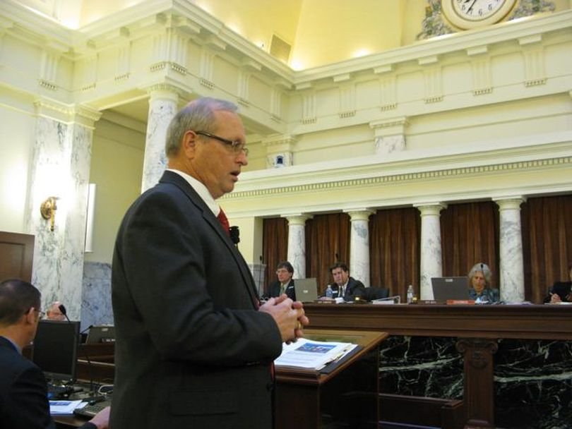 Cal Groen, director of the Idaho Fish and Game Department, tells lawmakers that more people are now viewing wildlife without hunting or fishing, and the department is looking into how to tap those users for funds. Fish & Game is funded by fishing and hunting license and tag fees, along with federal funds; it receives no state general tax funds. (Betsy Russell)