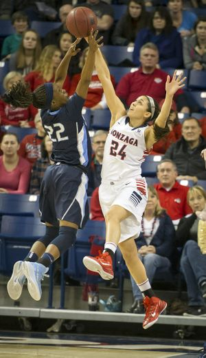 Gonzaga Bulldogs guard Keani Albanez (24) blocks a shot by San Diego Toreros forward Maya Hood (22) during the first half of a woman's NCAA basketball game, Mon., Dec. 29, 2014, at the McCarthey Athletic Center in Spokane, Wash. (Colin Mulvany / The Spokesman-Review)